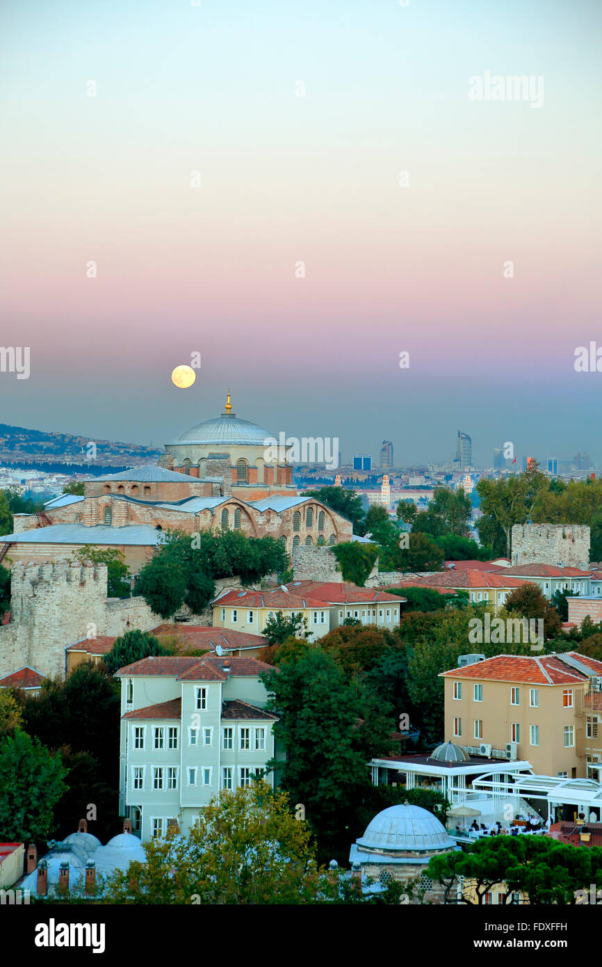 Moon over dome of Hagia Eirene Museum, Topkapi Palace, Istanbul, Turkey - Stock Image