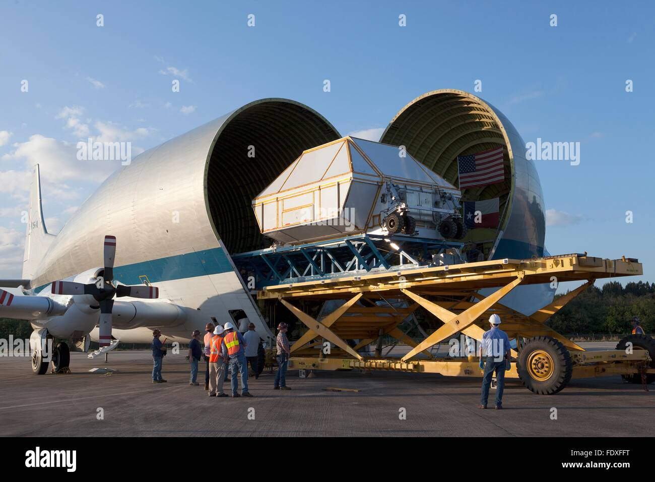 The Orion Multi-Purpose Crew capsule project EM-1 is offloaded from the Guppy cargo aircraft at the Shuttle Landing - Stock Image