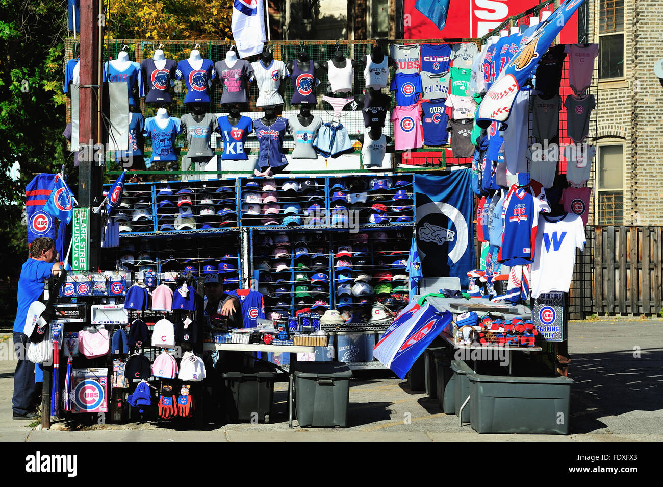 fa0448abab5 Chicago Cubs merchandise for sale at a street vendor location at a corner  just across the street from Wrigley Field. Chicago