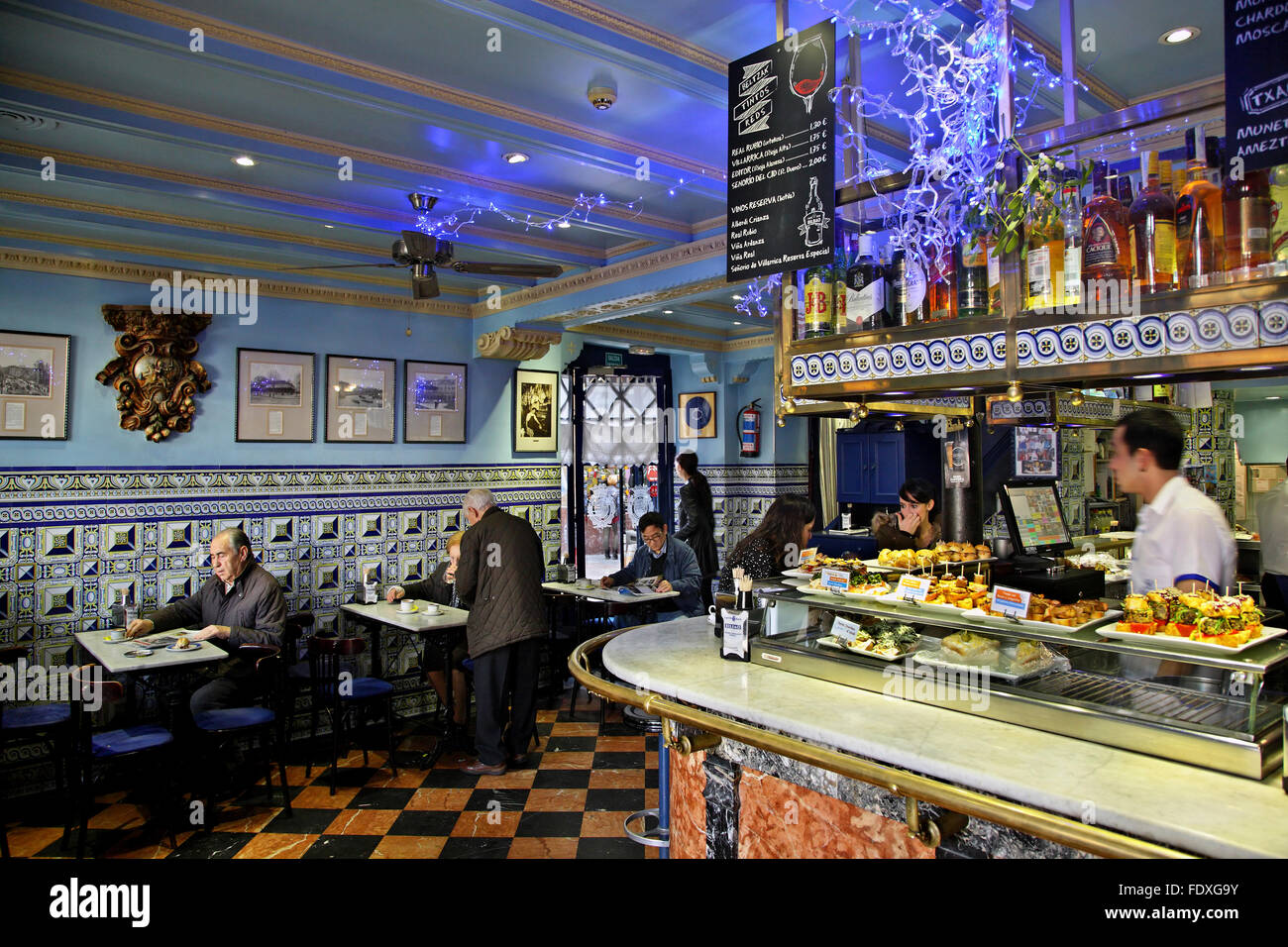 In the Basque Country (Pais Vasco) you will find the best Pintxo-Τapas Βars of Spain. Here 's one the 'Cafe - Stock Image