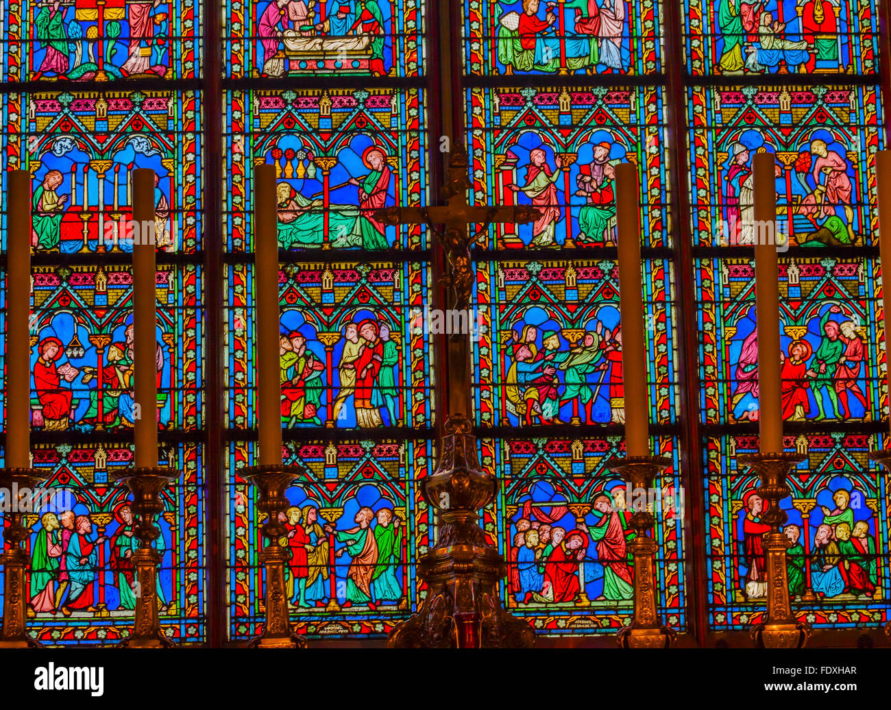 Altar Crucifix Middle Ages Stories Stained Glass Stained Glass Notre Dame Cathedral Paris France. - Stock Image