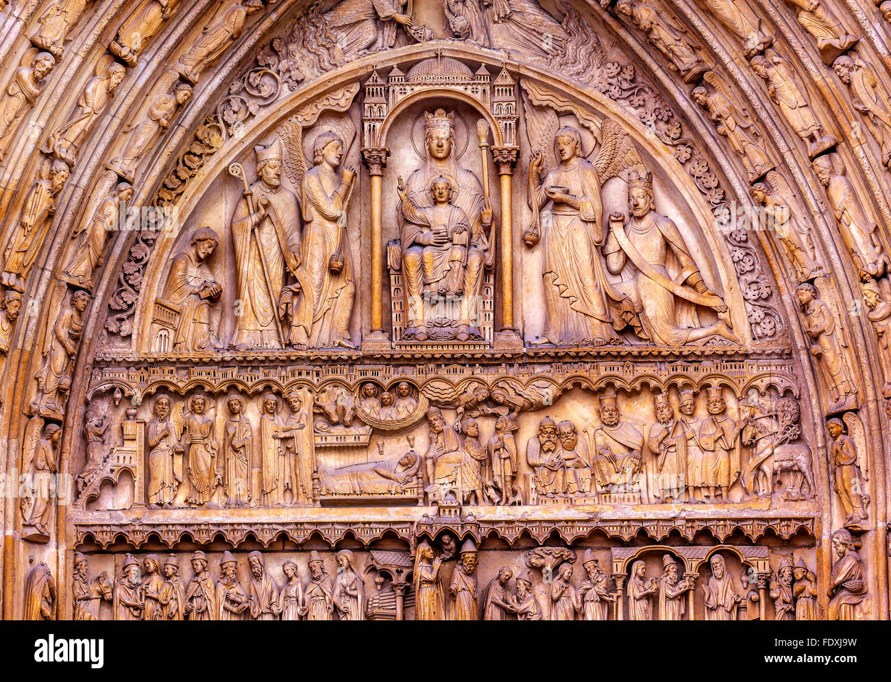 Saint Anne Door Biblical Statues Virgin Mary Baby Jesus Bishop Angels Notre Dame Cathedral Paris France. Stock Photo