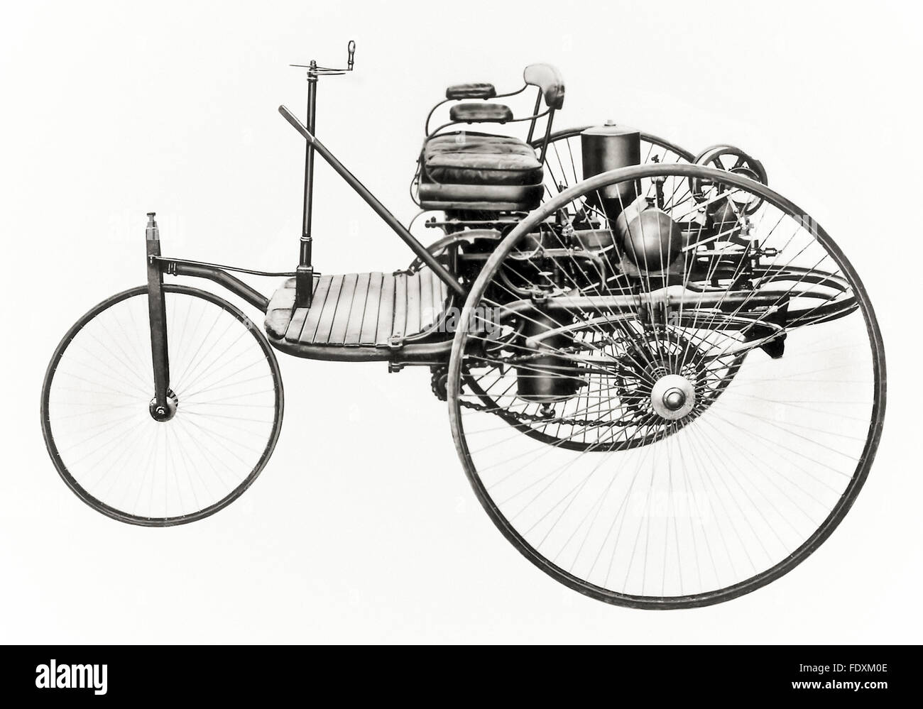 The 1885 Benz Patent-Motorwagen a three-wheeled automobile with a ...