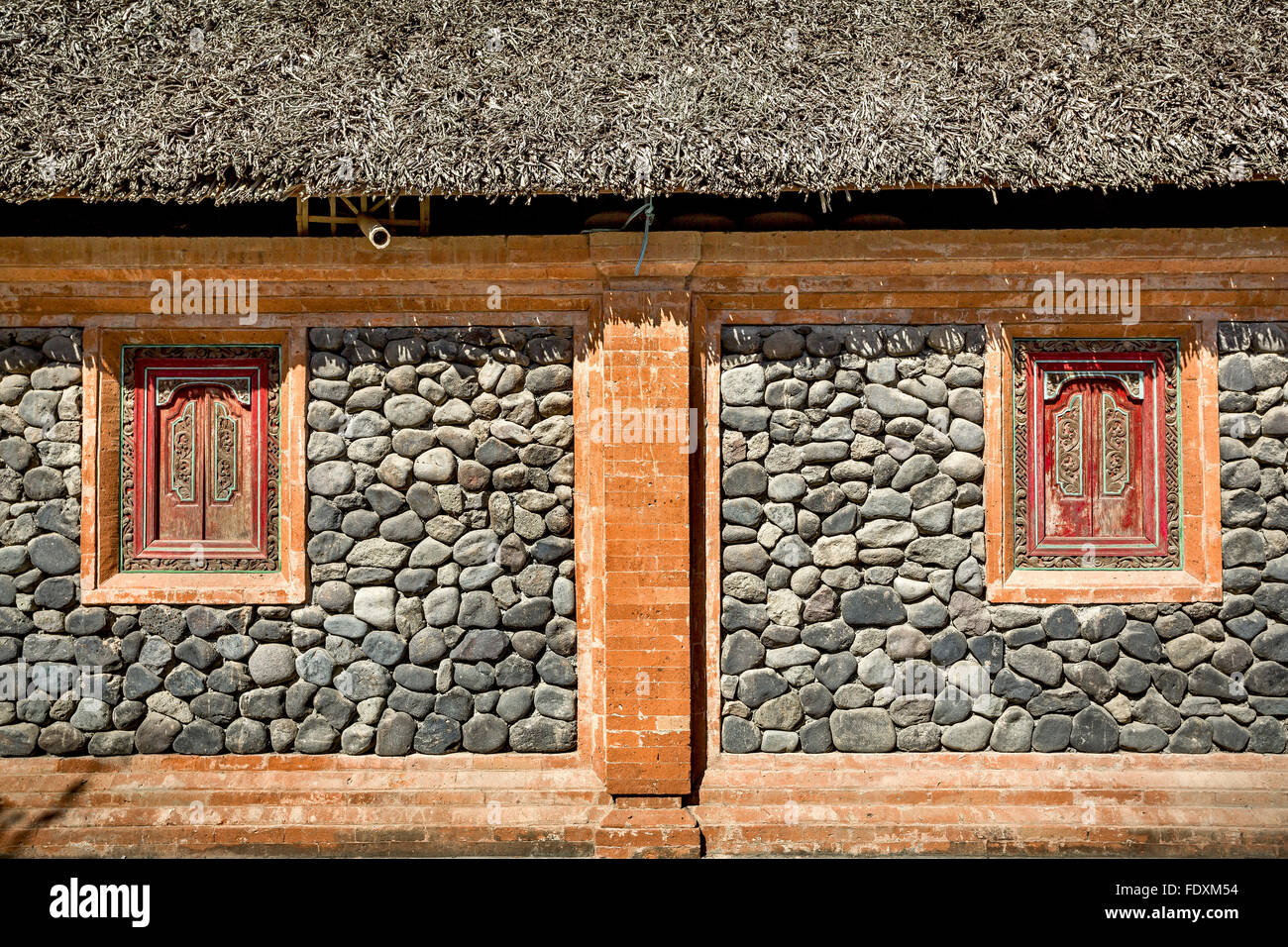 Bali Ethnic wooden crafted windows - Stock Image
