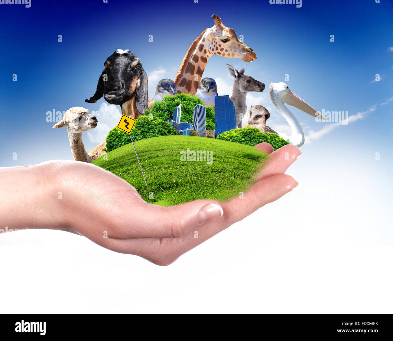 Green world and wildlife protection concept collage - Stock Image