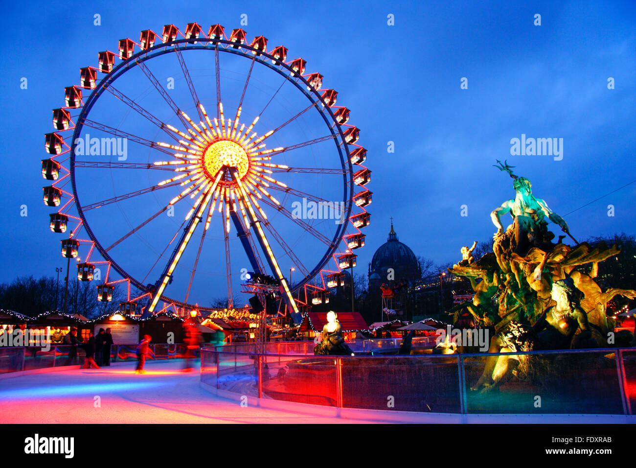 Ferris wheel in Alexanderplatz Christmas market , Berlin , Germany Stock Photo