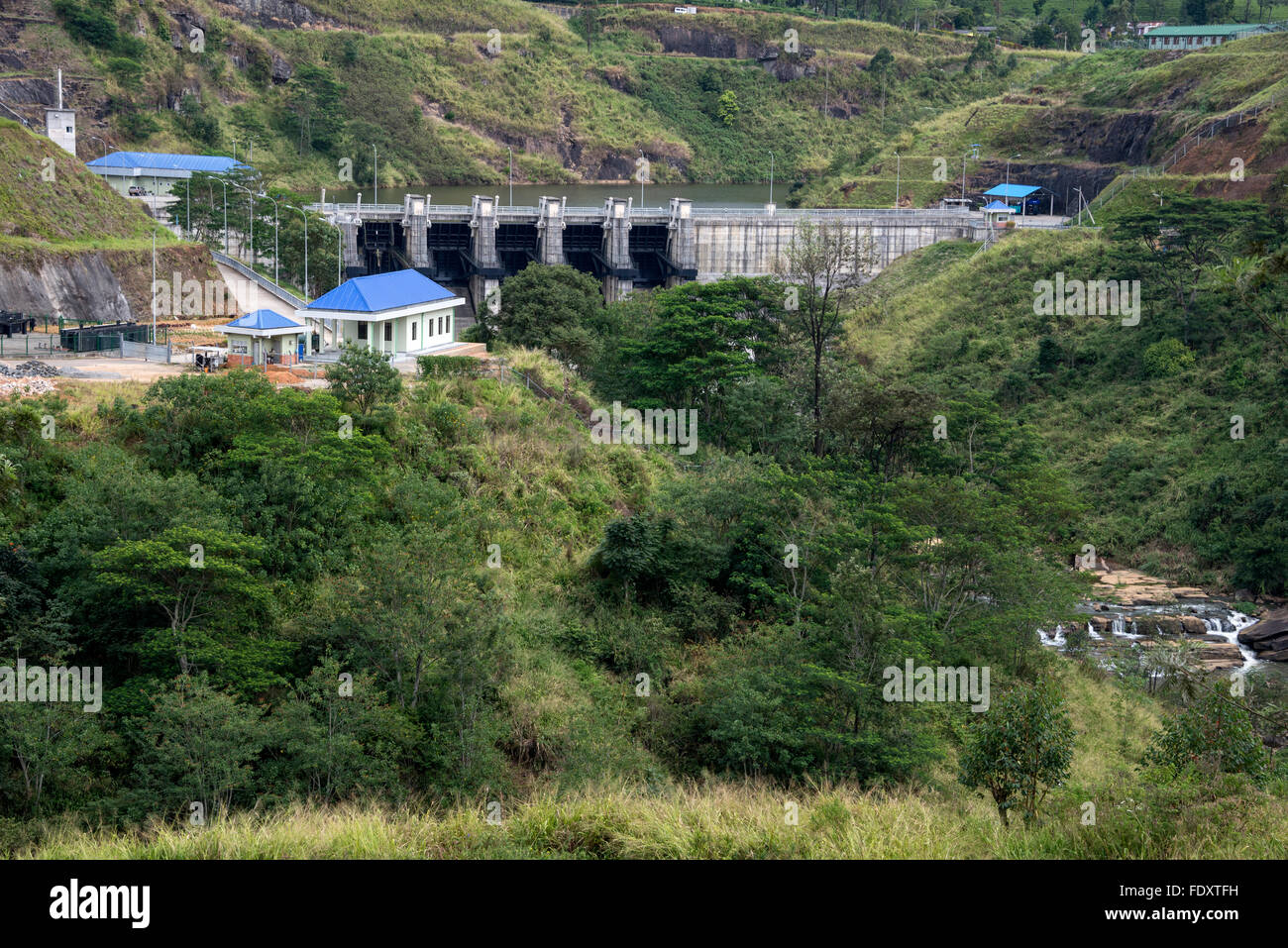 The Upper Kotmale Dam (also known as the Upper Kotmale Hydropower Project, or UKHP is located in Talawakele, Stock Photo