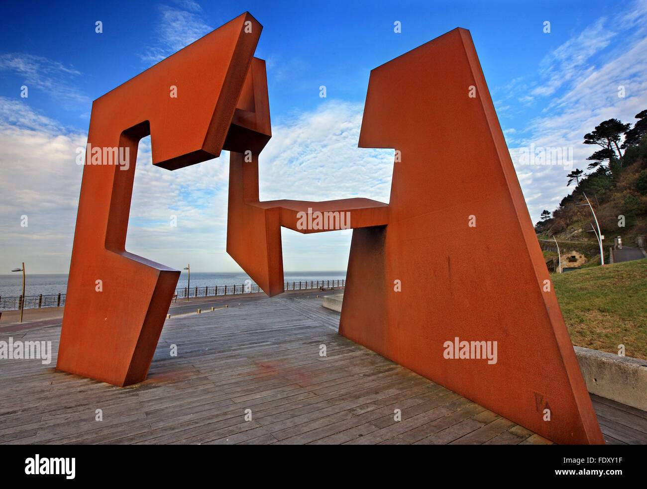 The 'Construcción Vacía' (Empty Space) sculpture by Jorge Oteiza at the base of Monte Urgull, - Stock Image