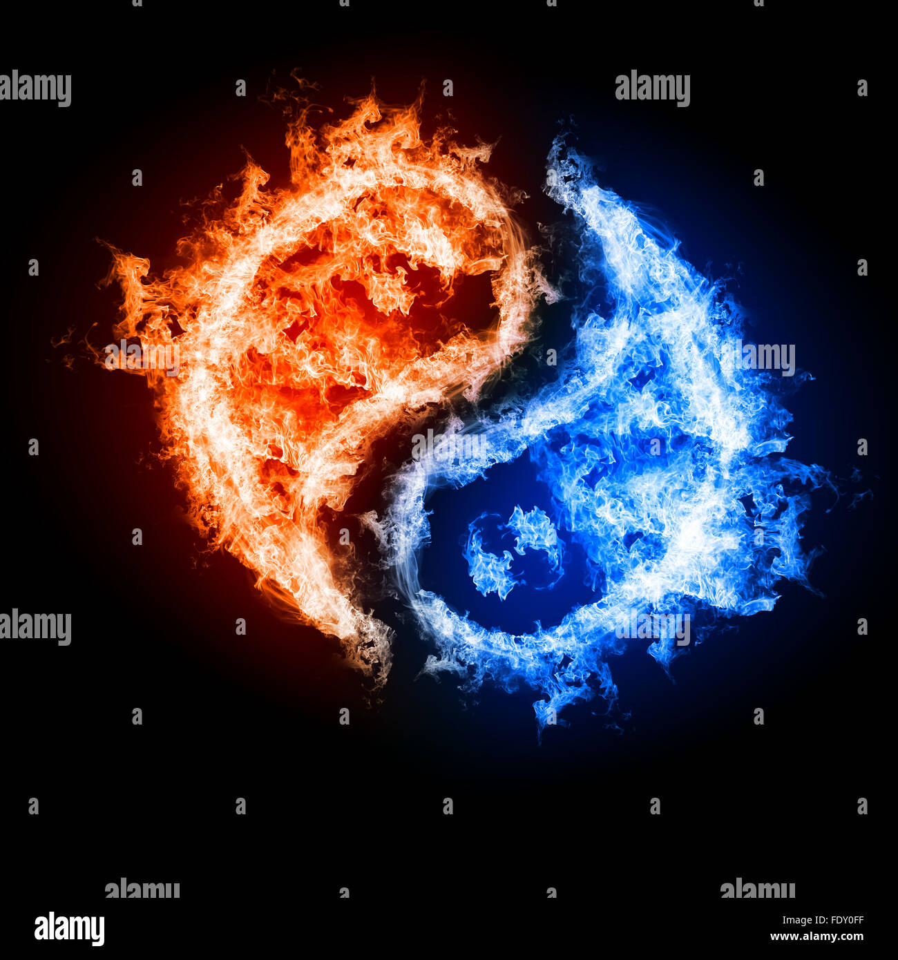 Symbol Of Yin And Yang Of The Dark Background In The Form Of Fire And Stock Photo Alamy