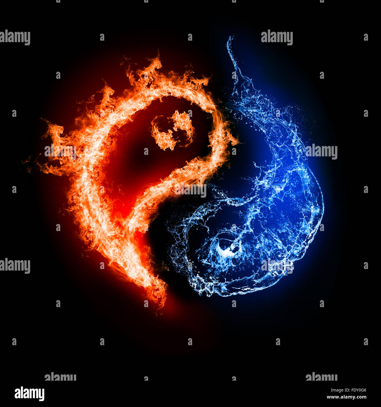 Symbol Of Yin And Yang Of The Dark Background In The Form Of Fire