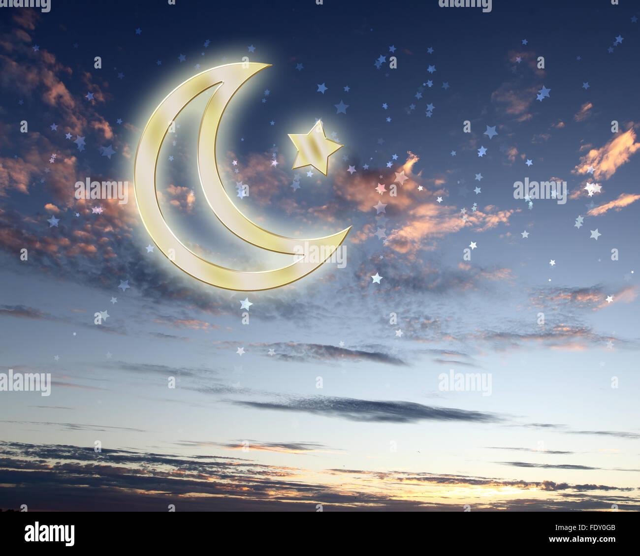 Symbols Of Islam Religion Against Bright Cloudy Sky Stock Photo