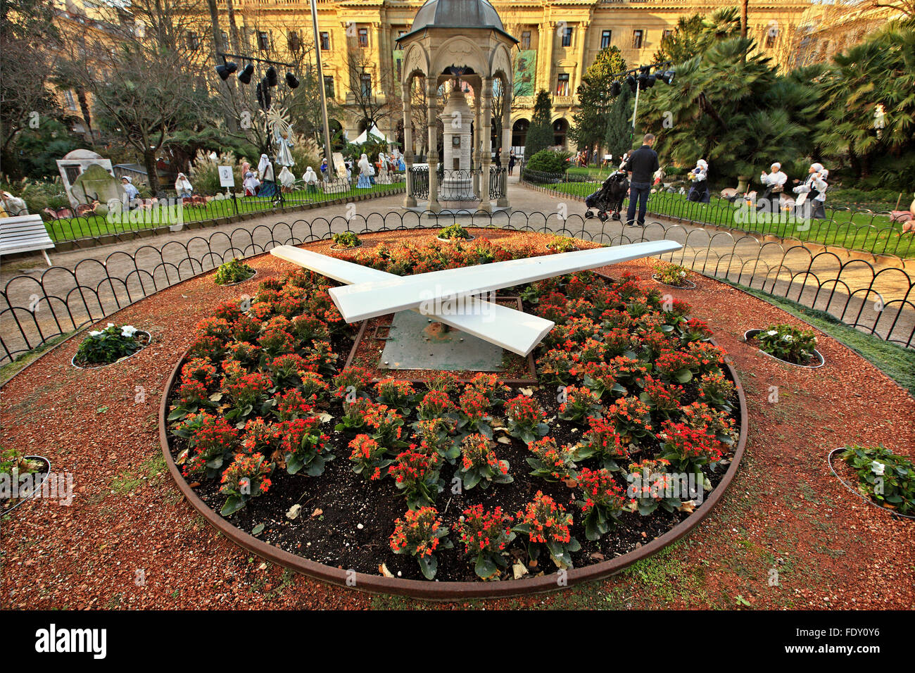 The flower clock in Plaza de Guipozkoa, San Sebastian (Donostia), Basque Country, Spain. - Stock Image