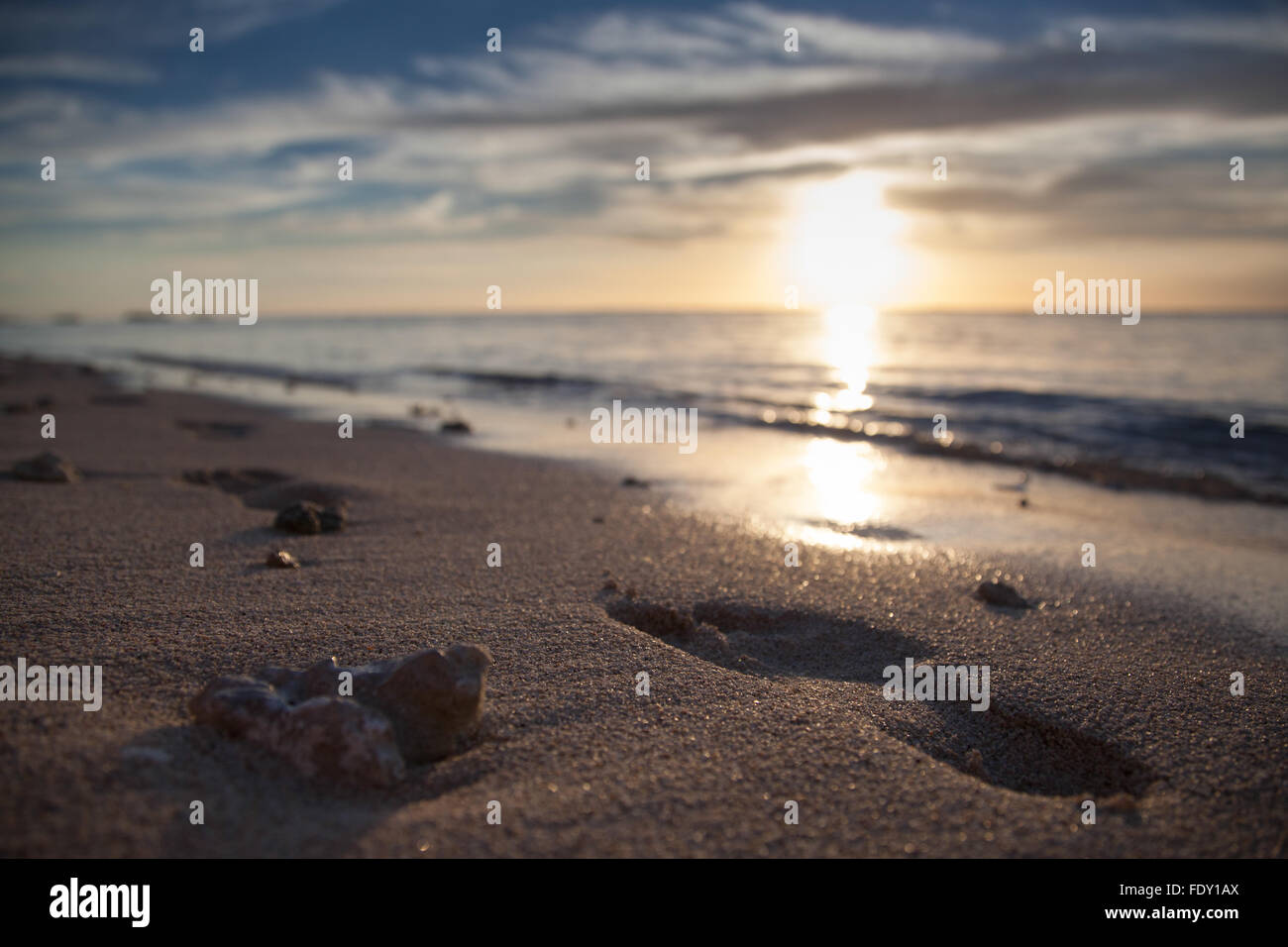 Stock footsteps in beach sand on the shores of Mauritius, Africa at sunset. - Stock Image