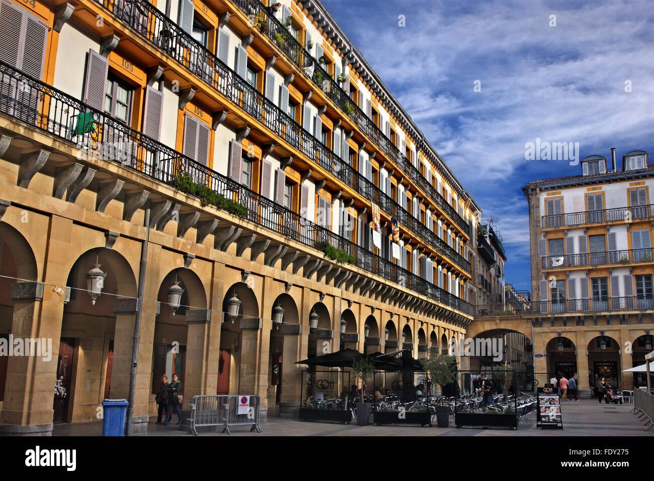 Plaza de la Constitucion, San Sebastian (Donostia), Basque Country (Pais Vasco - Euskadi), Spain - Stock Image
