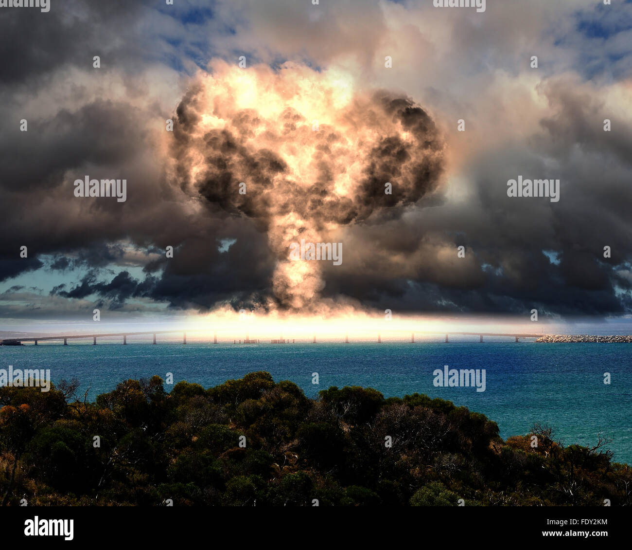 Nuclear explosion in an outdoor setting. Symbol of environmental protection and the dangers of nuclear energy. - Stock Image