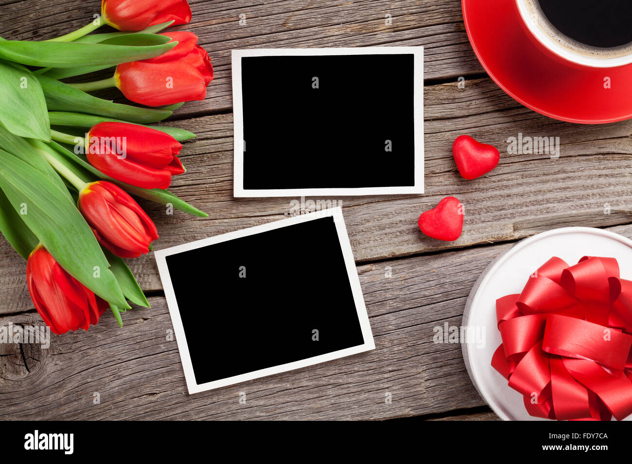 Red Tulips Gift Box And Valentine S Day Photo Frames Top View With