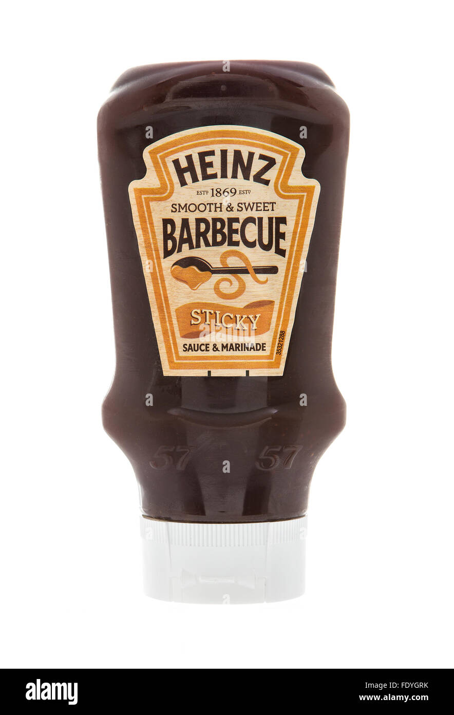 Bottle of Heinz Smooth And Sweet Barbecue Sticky Sauce And Marinade on a White Background - Stock Image