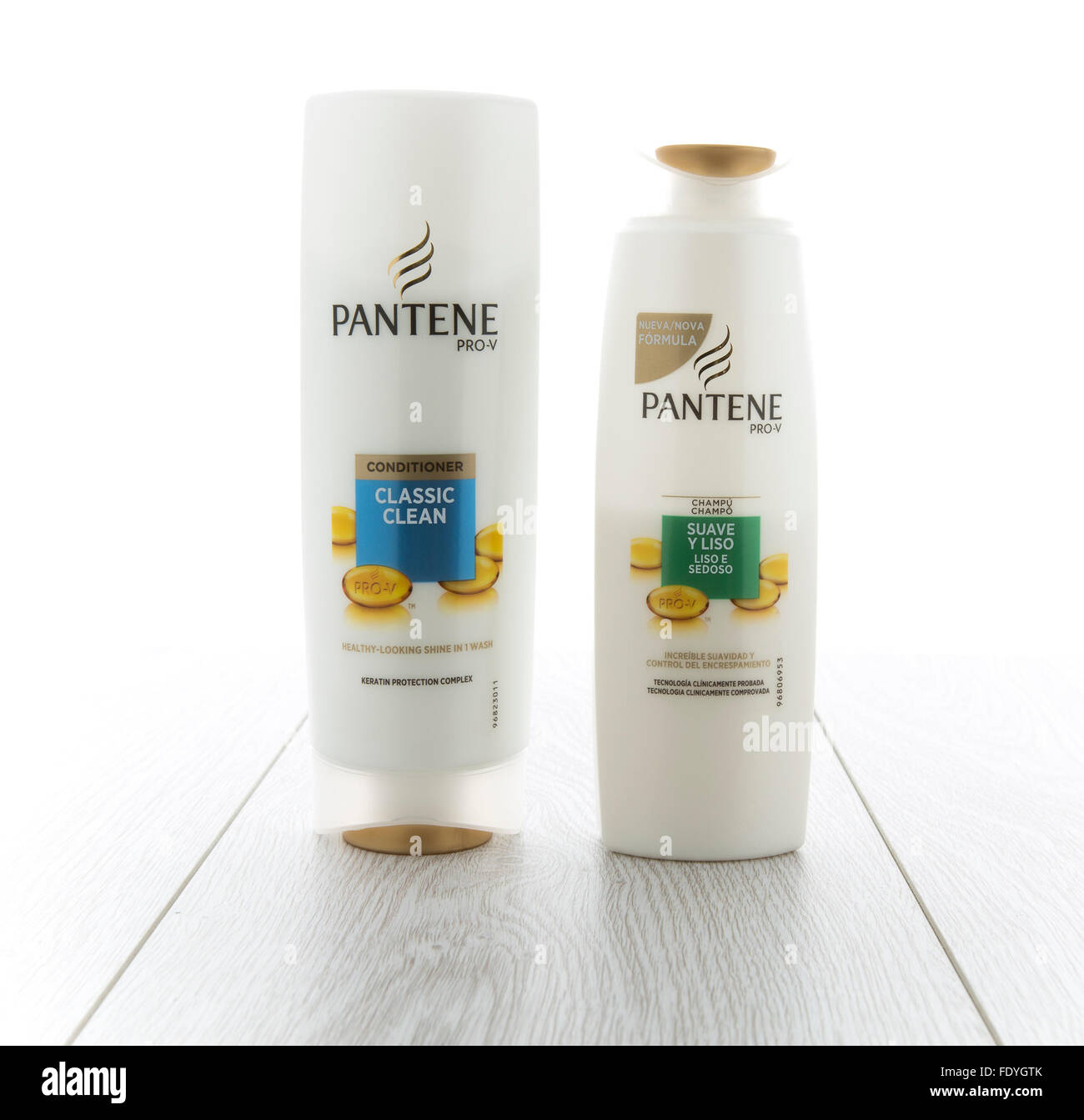 Two bottles of Pantene Hair Care Products. Introduced in Europe in 1947 by Hoffmann-La Roche - Stock Image