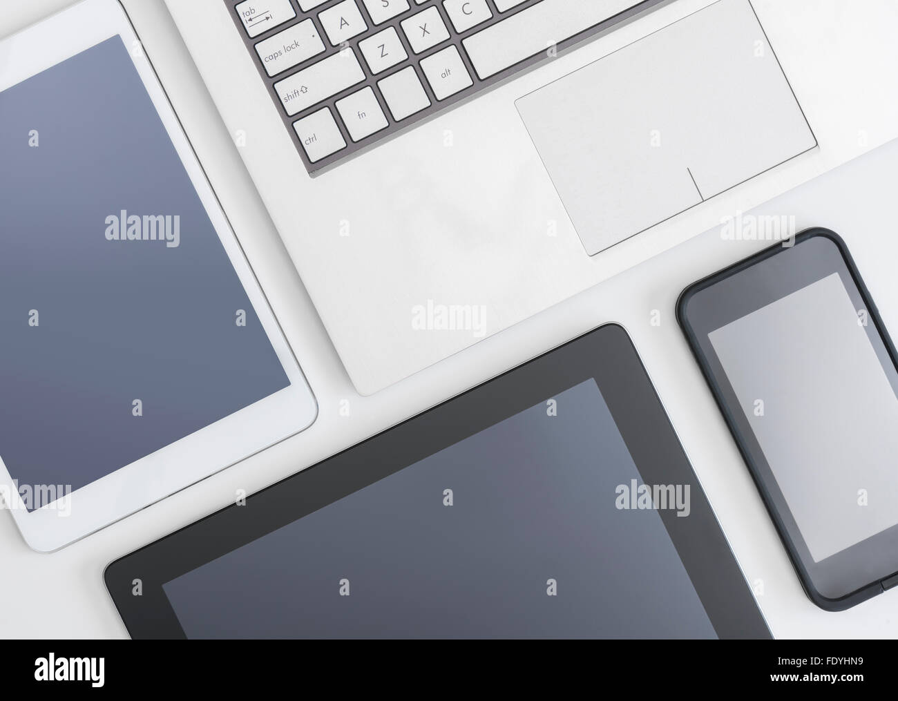 Flat lay photo of gadgets - Stock Image