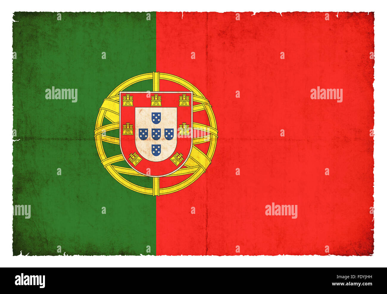National Flag of Portugal created in grunge style - Stock Image