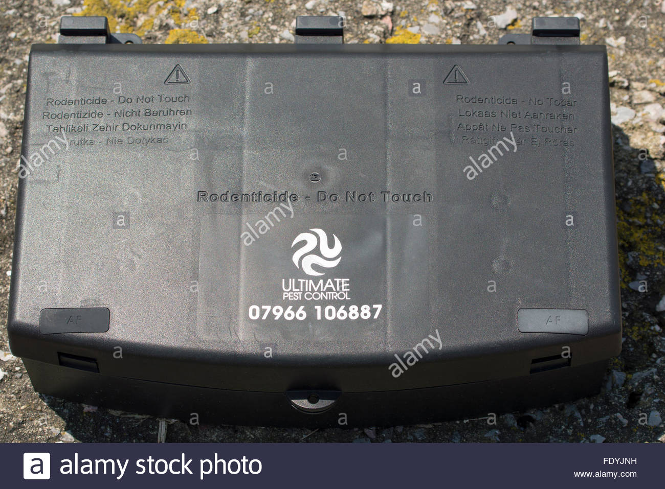 Close-up of a Rodenticide Pest Control box Stock Photo