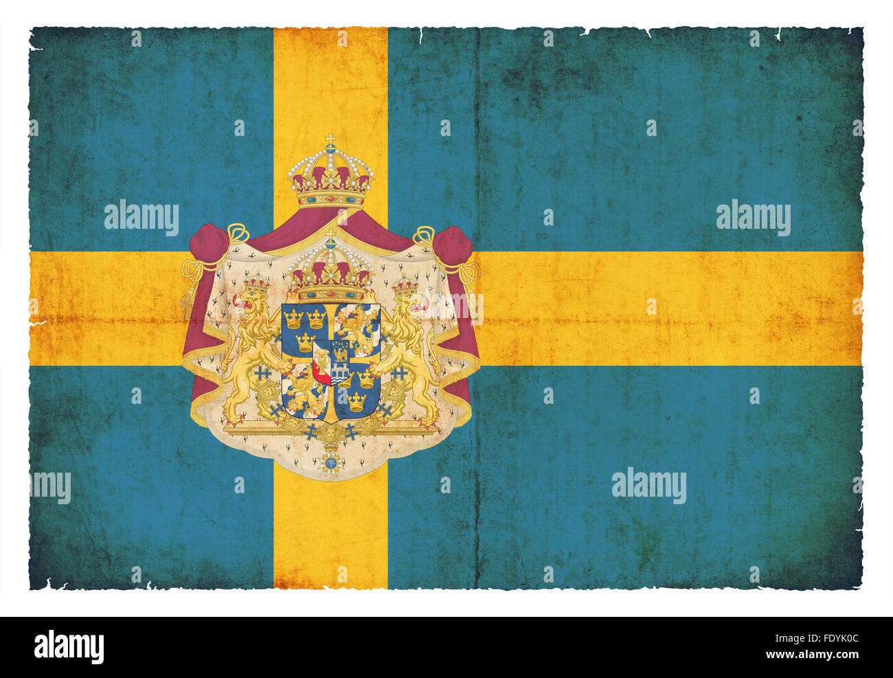 Flag of Sweden created in grunge style - Stock Image