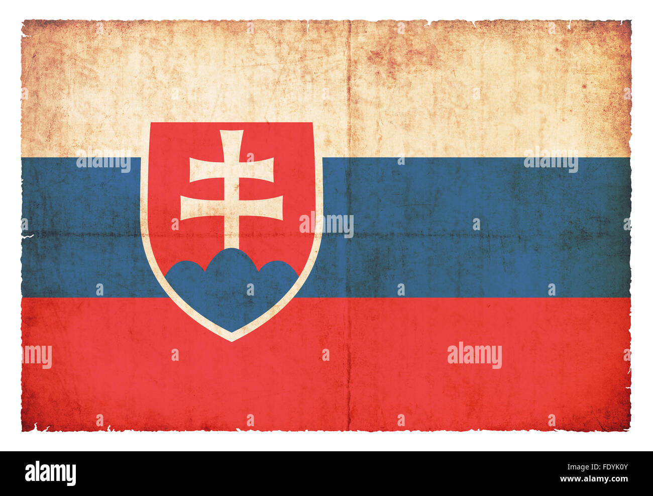 National Flag of Slovakia created in grunge style - Stock Image