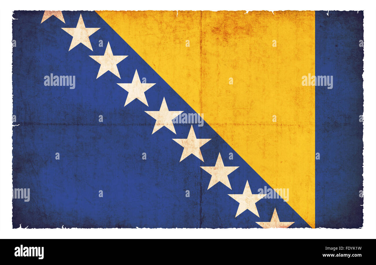 National Flag of Bosnia-Herzegovina created in grunge style - Stock Image