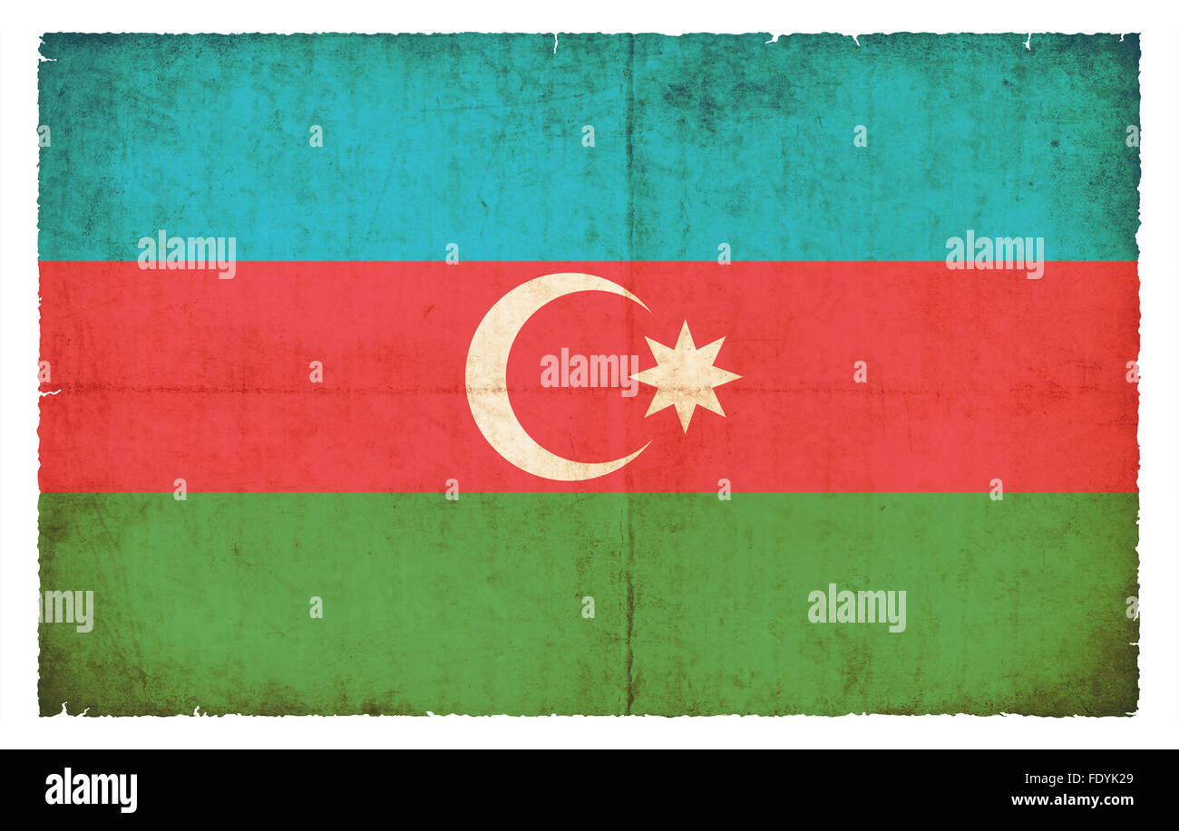 National Flag of Azerbaijan created in grunge style - Stock Image
