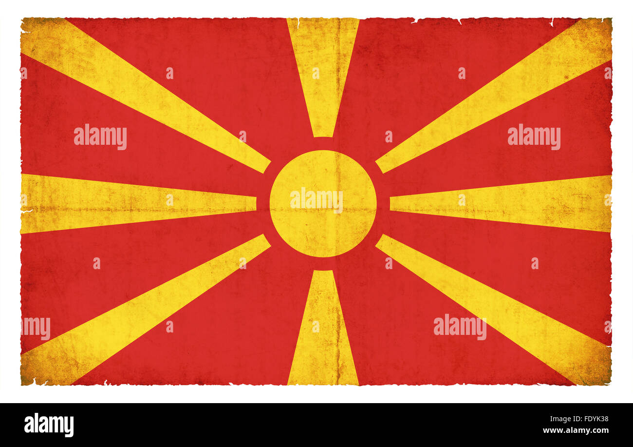 National Flag of Macedonia created in grunge style - Stock Image
