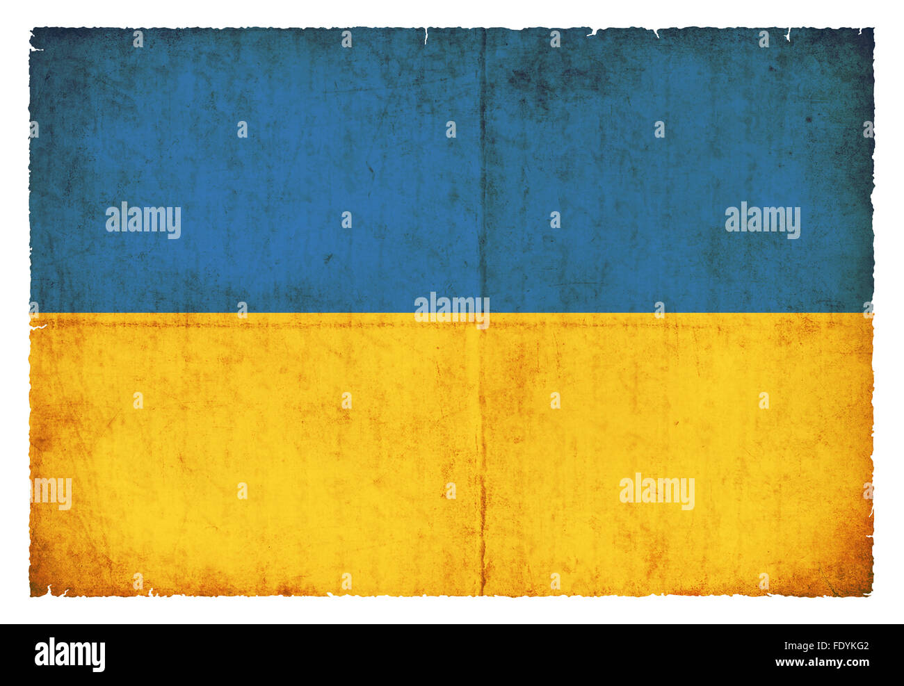 National Flag of Ukraine created in grunge style - Stock Image