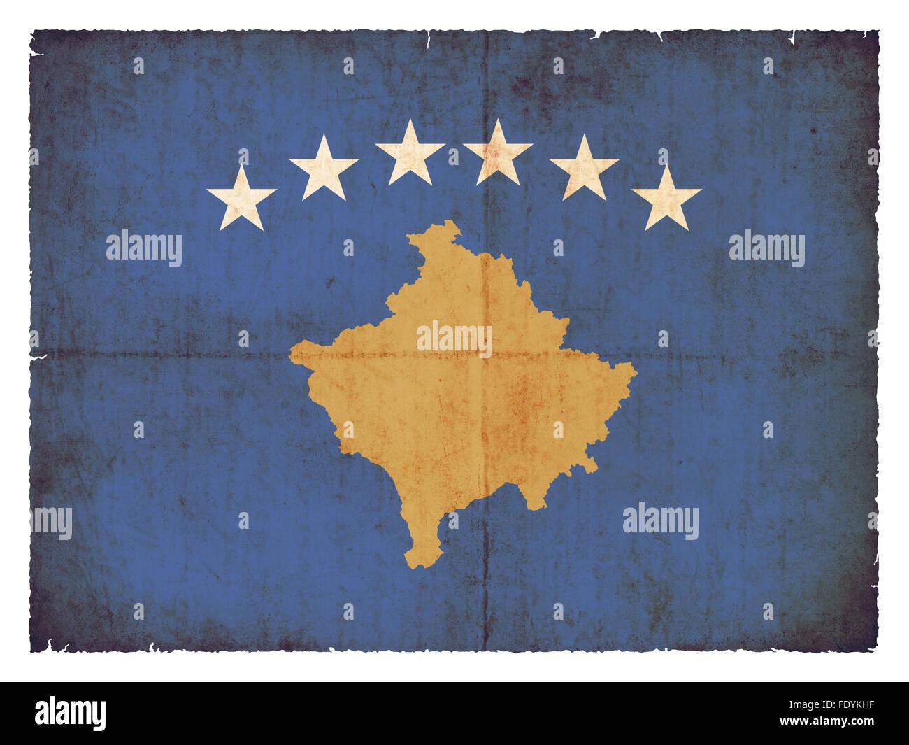 National Flag of Kosovo created in grunge style - Stock Image
