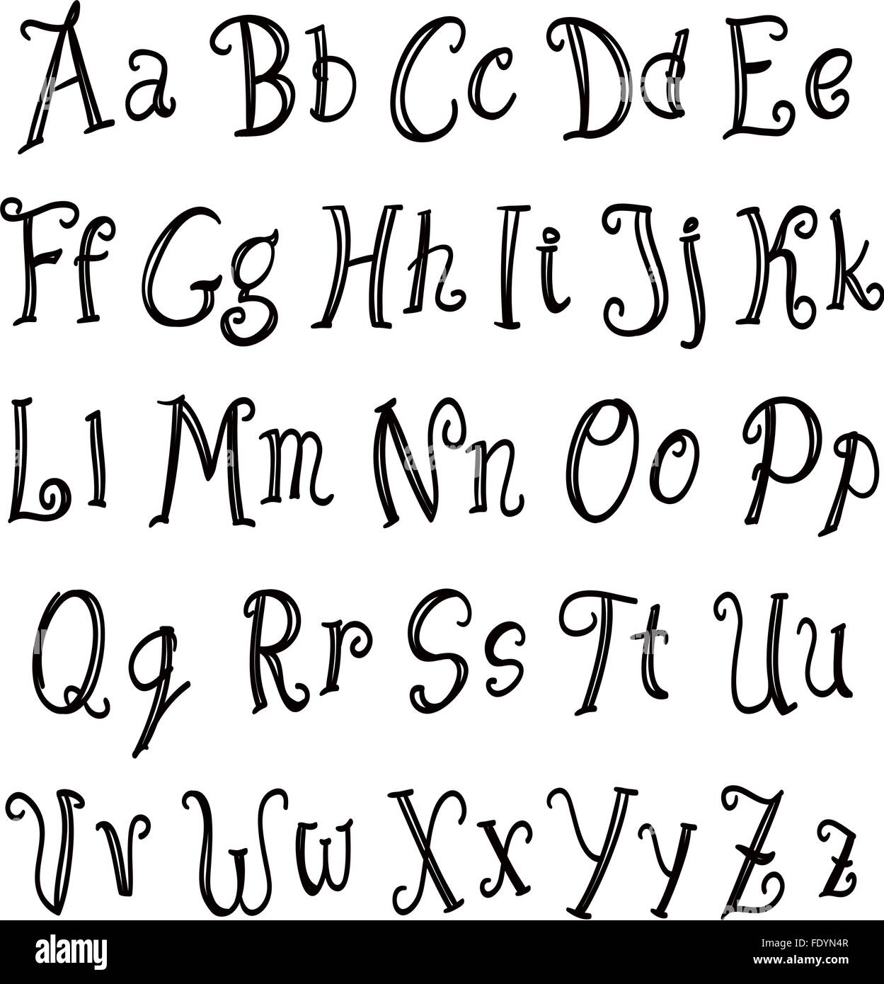 Hand Lettering Alphabet Set Black On White Vector