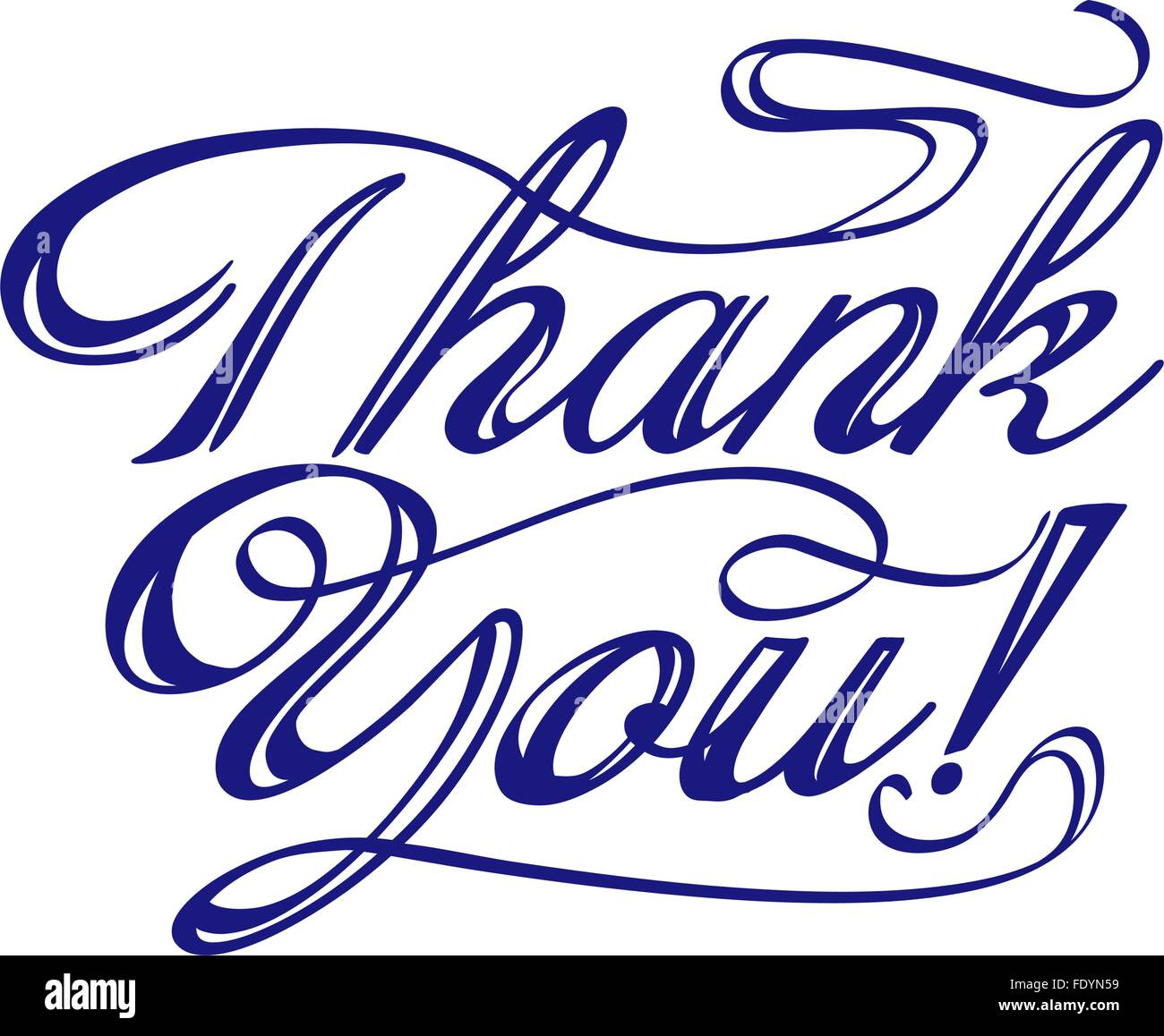 thank you words hand written with swirls. vector - Stock Image