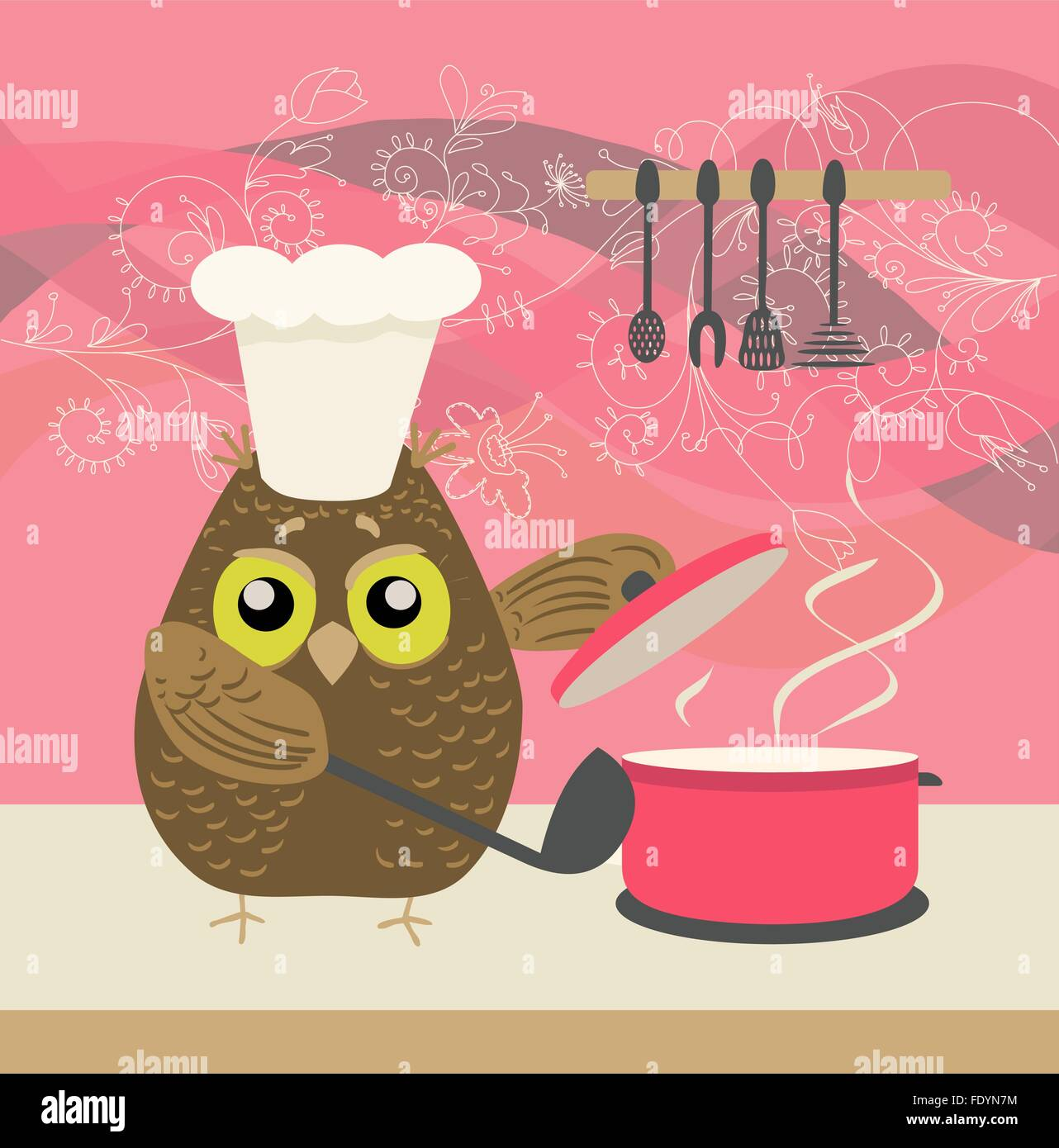 Cute Owl With A Bawl Cooking In The Kitchen On Decorative