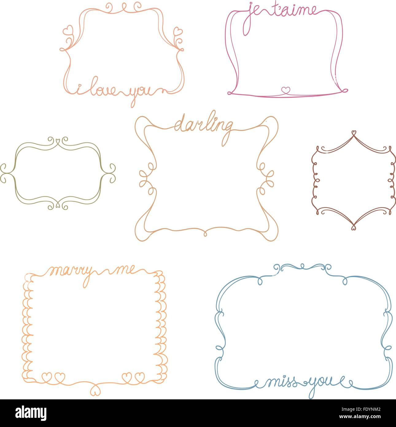 set of doodle frames with love,miss,marry message. simple and cute ...