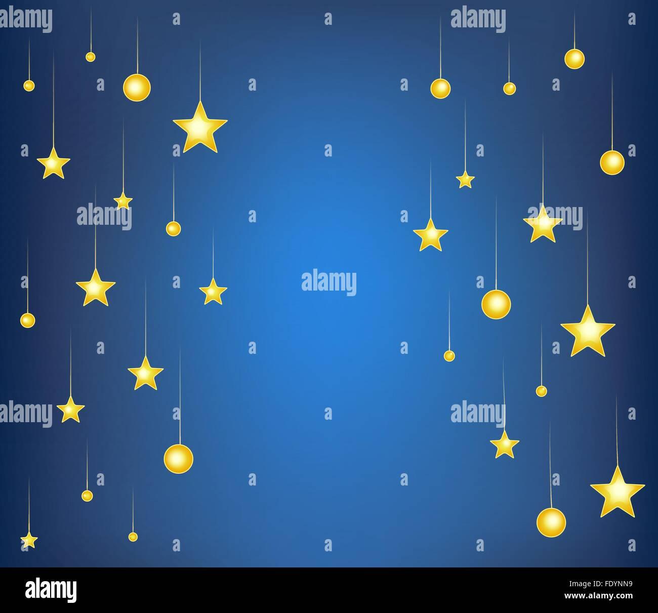 falling stars on blue night background. cartoon vector illustration Stock Vector