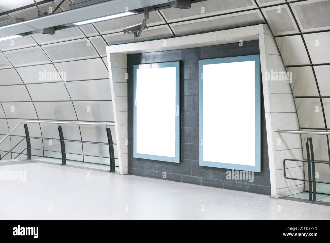 BLANK TEMPLATE BILLBOARD POSTER ON LONDON UNDERGROUND METRO, LONDON, UNITED KINGDOM, HIGH QUALITY Stock Photo