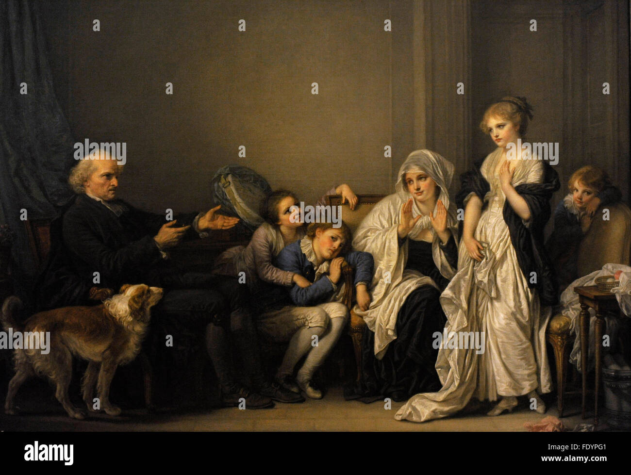 Jean-Baptiste Greuze (1725-1805). French painter. Widow and Her Priest. The State Hermitage Museum. Saint Petersburg. - Stock Image