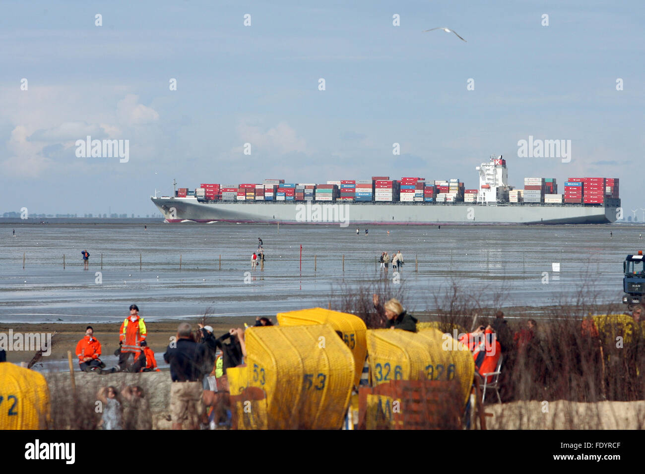 Cuxhaven, Germany, loaded container ship off the coast - Stock Image