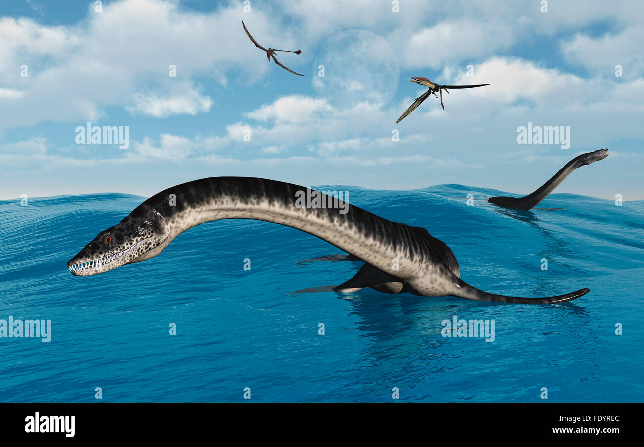 Pleisosaurs In Their Marine Habitat. - Stock Image