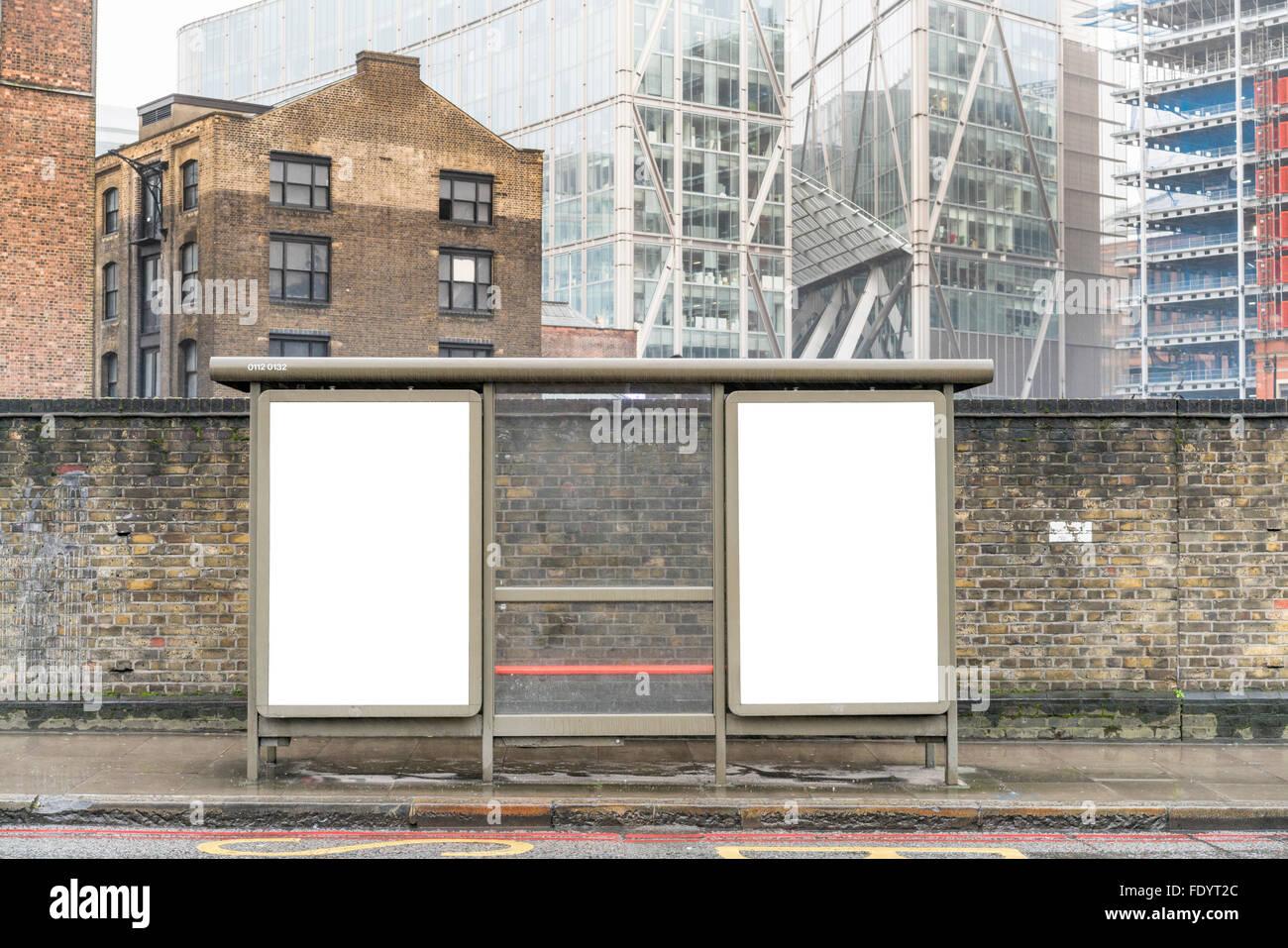 BLANK TEMPLATE BILLBOARD POSTER ON LONDON STREET, UNITED KINGDOM, HIGH QUALITY - Stock Image