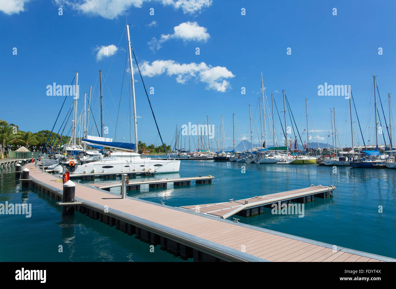 Yachts in harbour, Pape'ete, Tahiti, French Polynesia Stock Photo