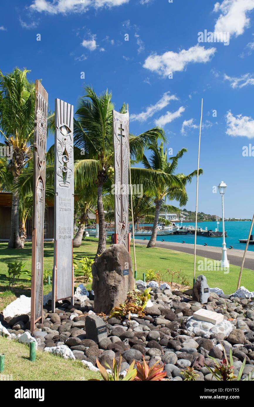 Memorial to nuclear testing in Jardins de Paofai, Pape'ete, Tahiti, French Polynesia - Stock Image