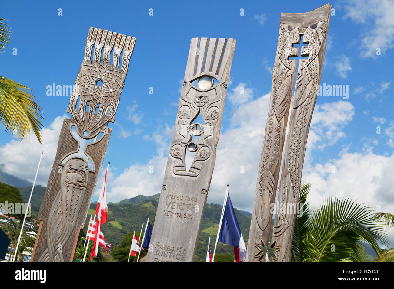 Memorial to nuclear testing in Jardins de Paofai, Pape'ete, Tahiti, French Polynesia Stock Photo