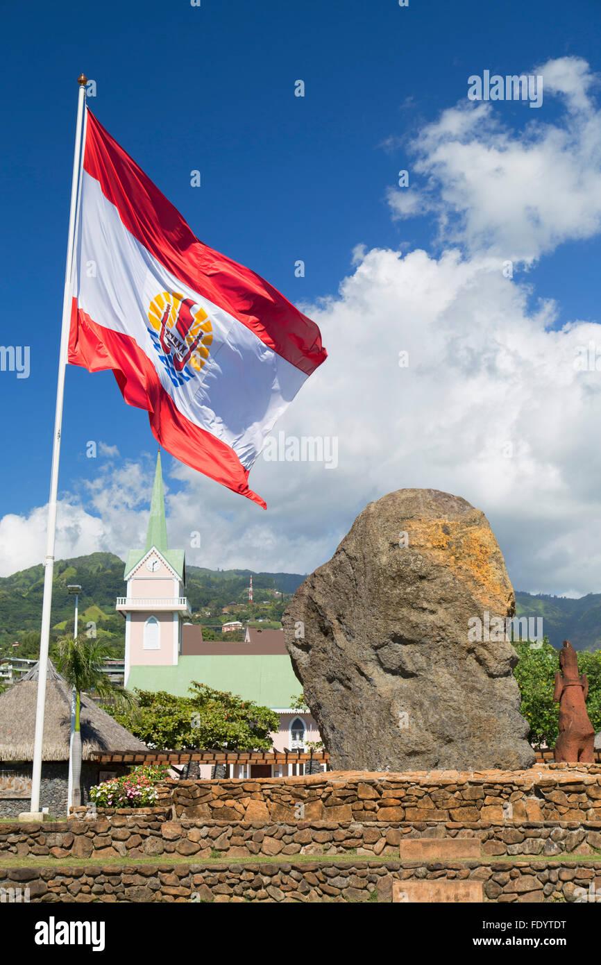 French Polynesian flag in Jardins de Paofai, Pape'ete, Tahiti, French Polynesia - Stock Image