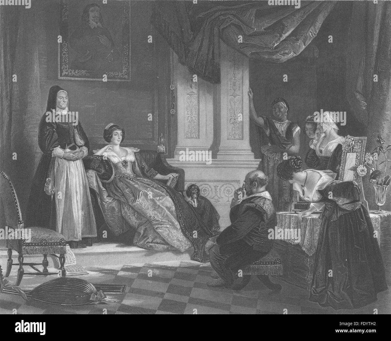 ROYALTY: Sancho and the Duchess, antique print c1870 - Stock Image