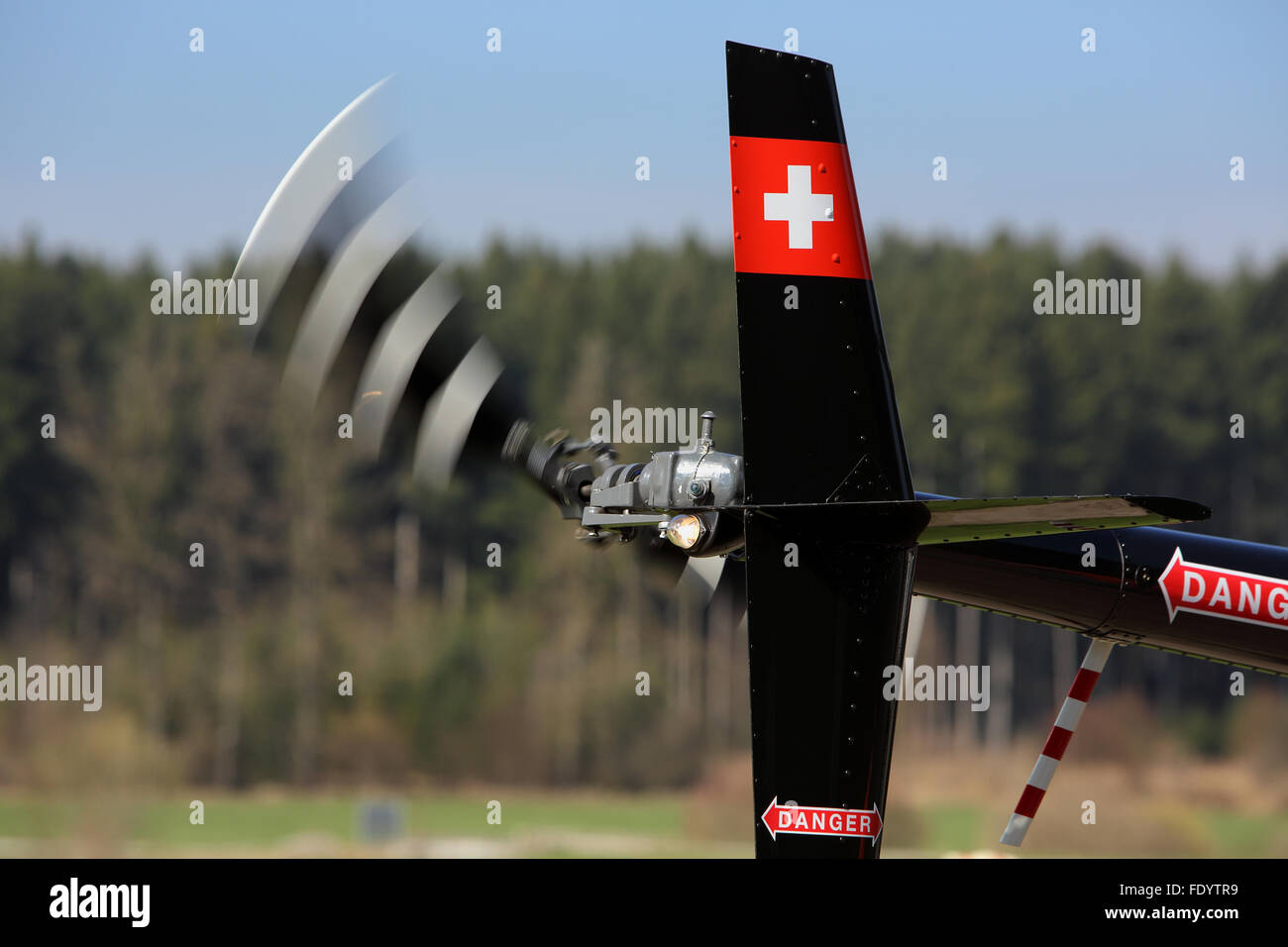 Beromuenster, Switzerland, tail rotor and vertical stabilizer of a helicopter - Stock Image