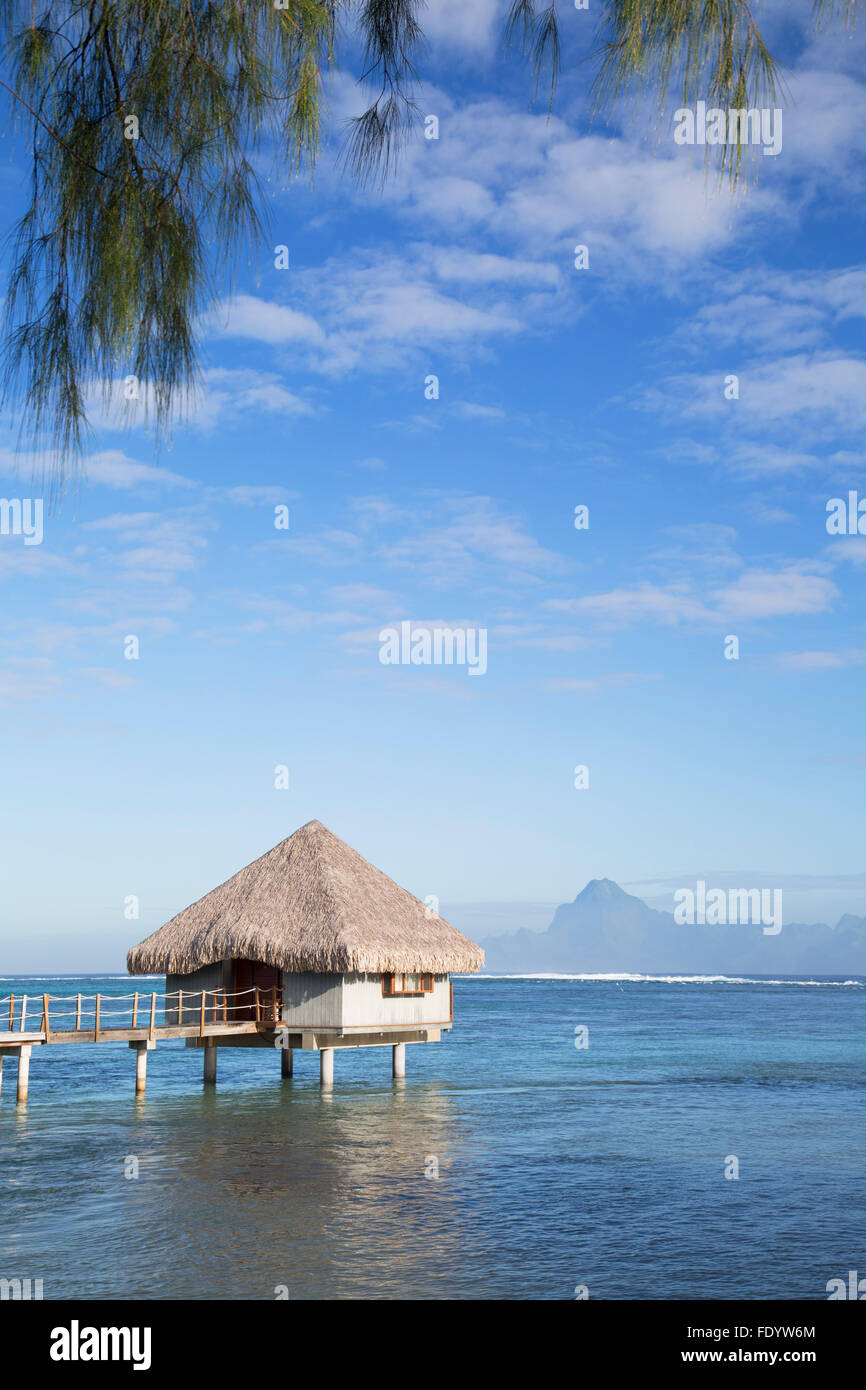Overwater bungalow at Le Meridien Tahiti Hotel, Pape'ete, Tahiti, French Polynesia - Stock Image