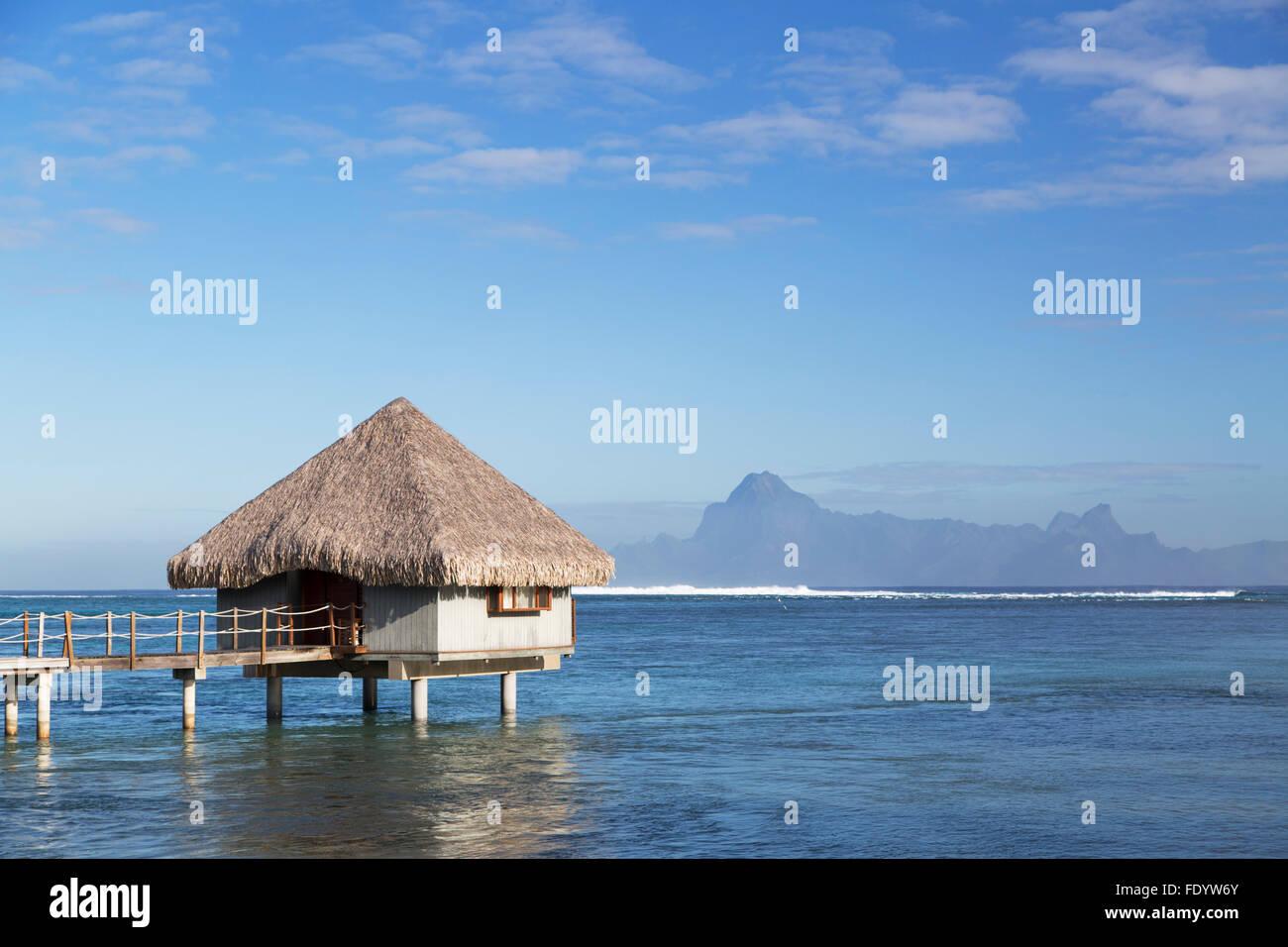 Overwater bungalow at Le Meridien Tahiti Hotel, Pape'ete, Tahiti, French Polynesia - Stock Image